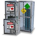Gas bottle and aerosol can storage cages