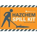 Hazchem spill kit label for front of wheelie bin