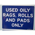 Used oil rag label sticker