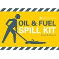 Oil and fuel spill kit label for front of wheelie bin