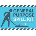 General purpose spill kit label for front of wheelie bin